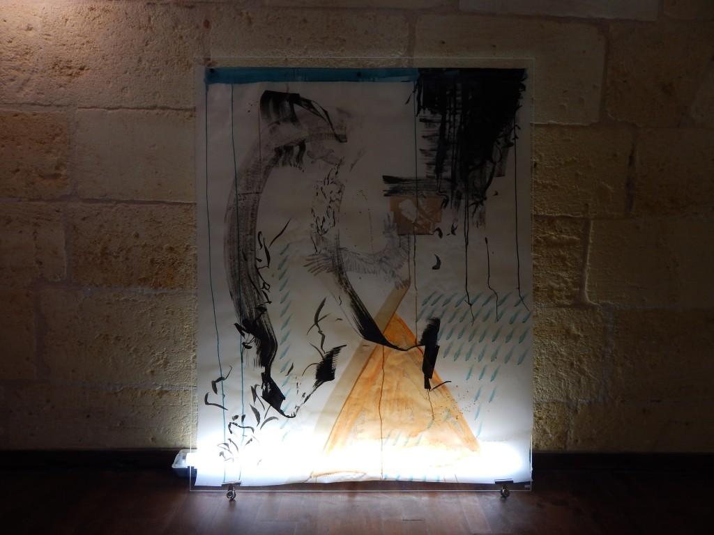 1640x1150 cm Technique mixte sur papier calque, plexiglass et néon