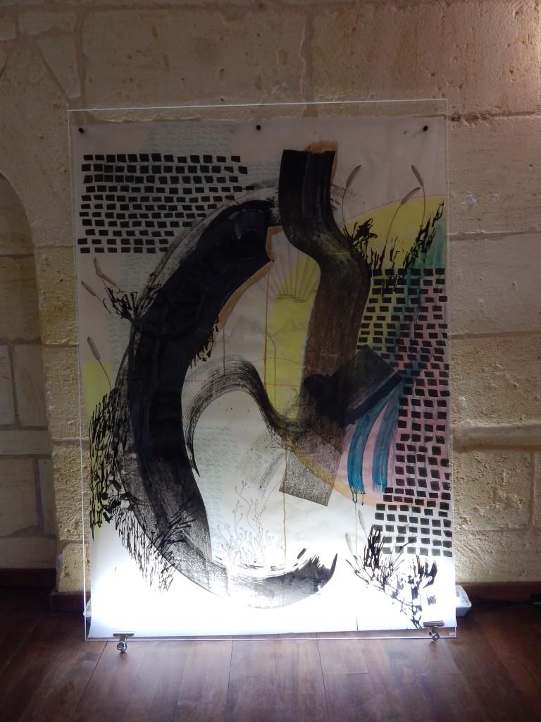 1450x1150 Technique mixte sur papier calque, plexiglass et néon